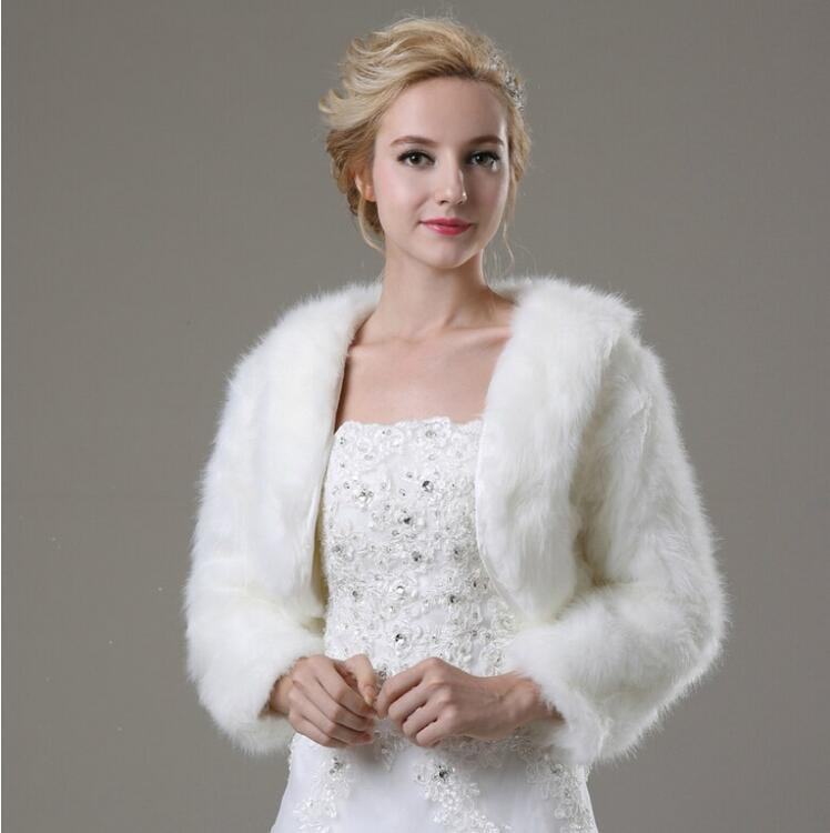 Long sleeve wedding bolero jacket women winter white ivory for Womens dress jacket wedding