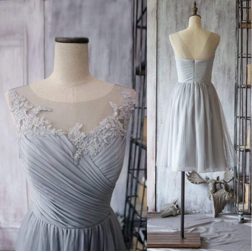 Fashion light grey bridesmaid dress chiffon short knee for Light grey wedding dress