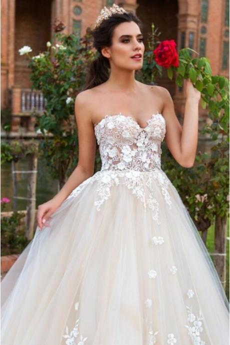 2017 New A-Line Wedding Dresses Sweetheart Sleeveless Lace Up Back Lace Applique Wedding Gowns Robe de Mariage