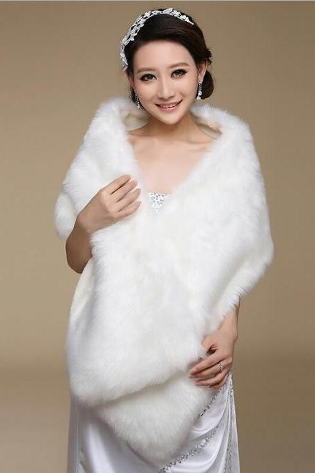 Elegant White/Ivory Bride Wrap Fake fur Shrug Shawl Wedding Bolero Jacket Coat Wedding Accessories