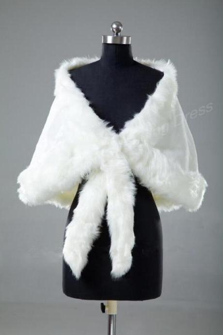 Warm Faux Fur white/Ivory Wrap Wedding Jacket Shawl Bridal Bolero Coat Wedding Accessories
