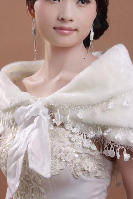 2015 New wedding dress Ivory jacket coat bridal dress Fake fur shawl Three Layer Lace