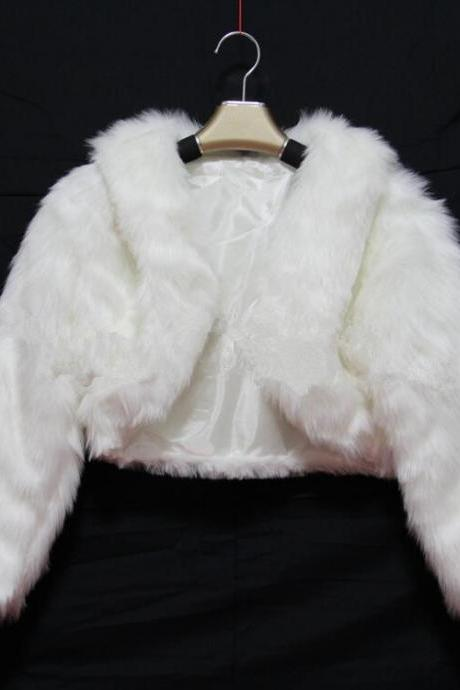 Long Sleeve Wedding Bolero Jacket Women Winter White/Ivory Bridal coat Girls Faux fur Shrug Cloak