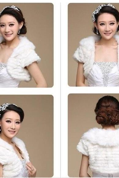 Ivory Faux Fur Bridesmaid Shawl wedding Short-sleeved jacket Shrug Shawl Wrap Bridal Winter Stole Coat