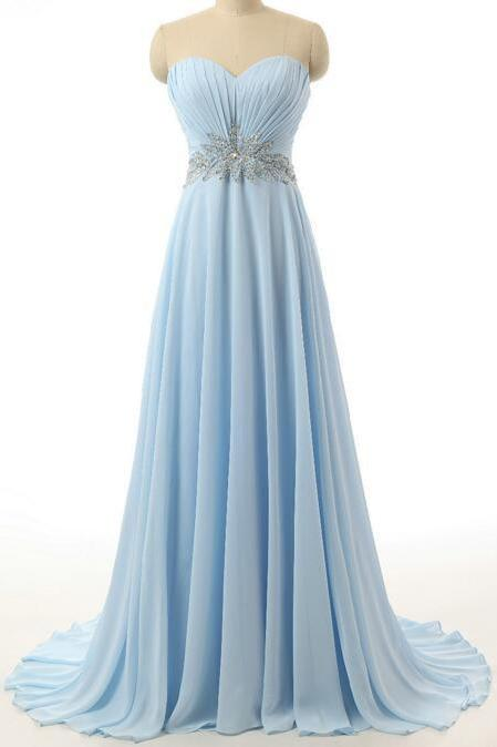 New Light Blue Chiffon Bridesmaid Dresses Sweetheart A Line Long Party dress Beading Evening dress Ball gown