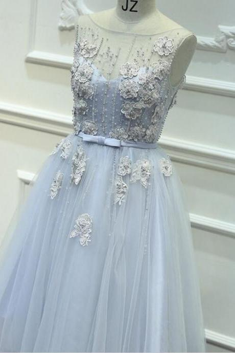 2016 A-line Bridesmaid dress appliques pearls sleeveless Wedding Party dress Fashion Evening dress Ball gown Beach Dress