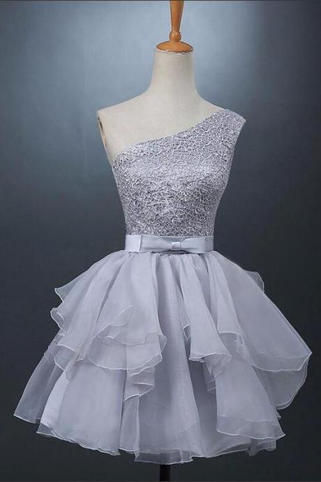 Lace Short Bridesmaid Dresses Gray A-line Organza Wedding Party Dresses Bow One Shoulder Ball gown Graduation gown