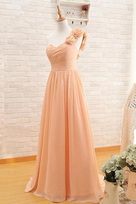 One Shoulder Chiffon Bridesmaid Dress A-Line Sweetheart Long Prom dress Evening dress Simple Wedding Party dress