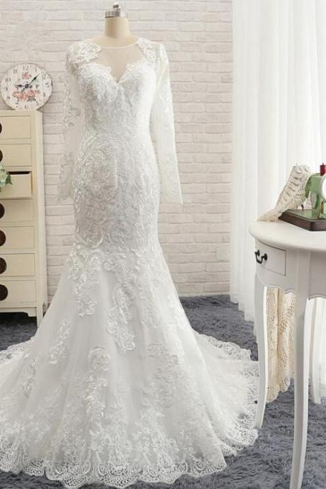 Fashion Vintage Long Mermaid Lace Wedding Dresses Long Sleeves 2016 Bride Gown IIIusion Neckline
