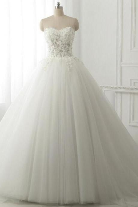 Fashion 2016 Lace Wedding Dress Vintage White Tulle Ball Gown A-line Long Off Shoulder Bridal gown