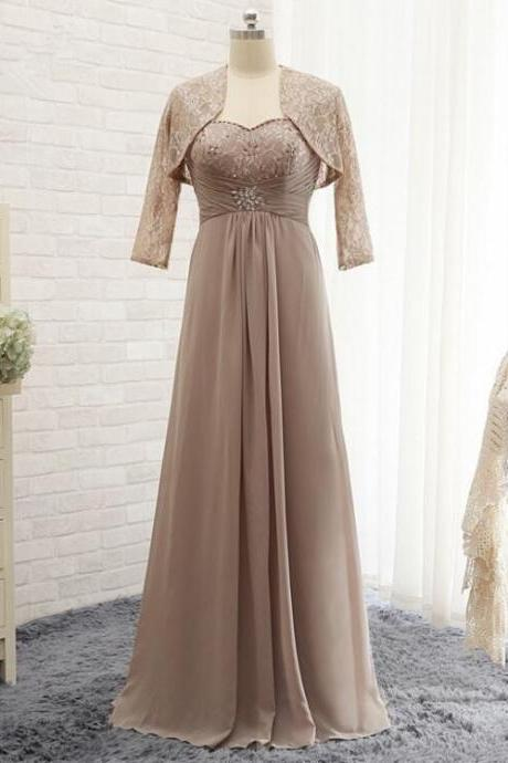 Elegant Mother Of The Bride Dresses Long A Line Chiffon Evening dress With Lace Jacket Floor Length Sweetheart Wedding Party Dresses