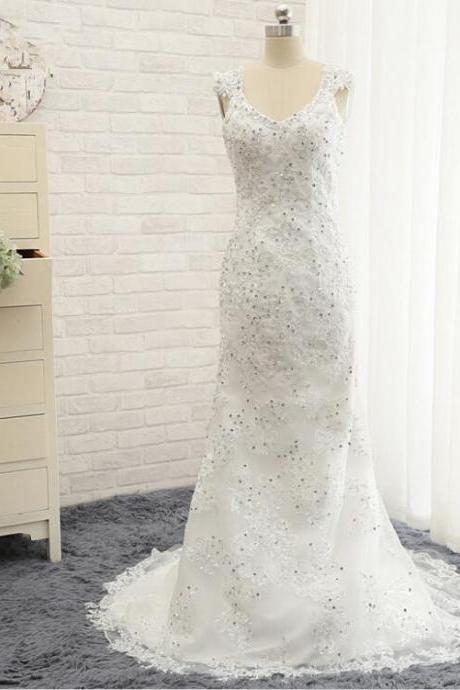 Sexy Lace Appliques Mermaid Wedding Dresses White/Ivory V Neck Long Beading Bridal Gown Plus size