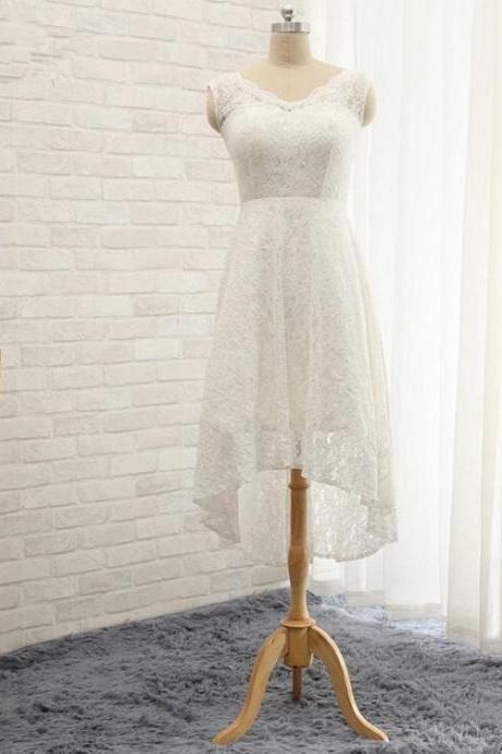 Fashion Short Lace Wedding Dresses 2016 A Line Cap Sleeves Short Front Long Back Bridal gown