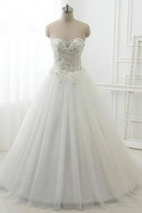 Floor Length A-Line Tulle Wedding Gown Featuring Beaded Embellished Sweetheart Bodice and Lace-Up Back in White or Ivory