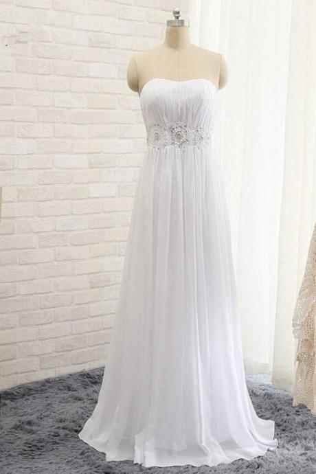 2016 New Simple Beach Wedding Dresses Chiffon Strapless Floor Length Beading Sashes A line Bridal gown Plus Size Prom dress