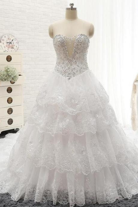 2016 New Luxury Beads Sequins Wedding Dress Sweetheart Tiered Ruffles White Royal Train Bridal gown Plus size