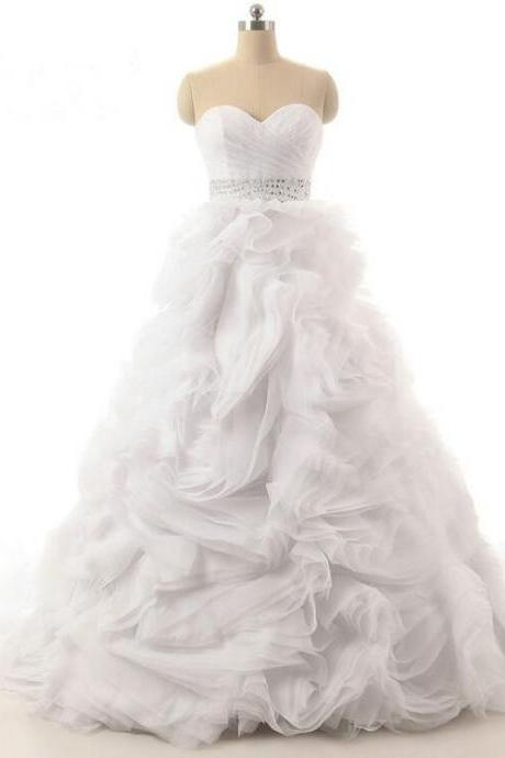 2016 New High Quality Fluffy Type Wedding Dress Organza Beading Sequined Sexy Sweetheart White/Ivory Ball Gown Bridal dress Customized Plus Size