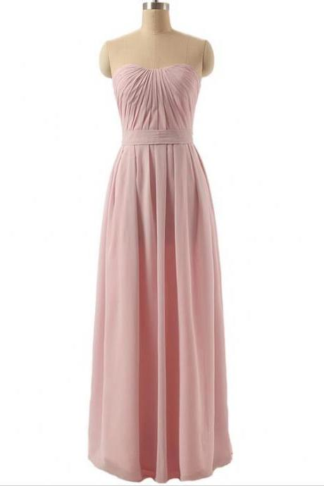Elegant Pink Chiffon Bridesmaid Dress A Line Floor Length Formal Gown Off Shoulder Long Evening dress Party dress Graduation gown