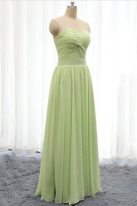 Fashion Sweetheart Light Green Chiffon Bridesmaid Dress Long A Line Wedding Party Dresses Prom dress Plus size
