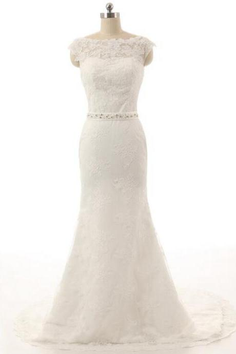 Sexy Mermaid Cap Sleeve Wedding Dress Vintage Lace applique Long Scoop White / Ivory Bridal Gown Beaded Belt Plus size
