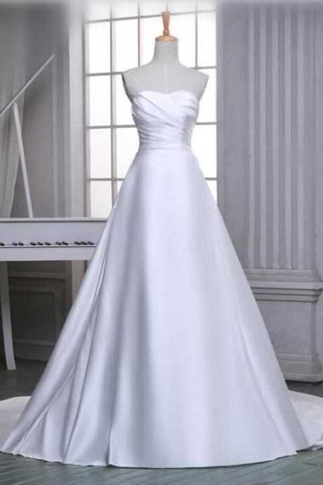 Chapel Train Satin Elegant A line Wedding Dresses 2016 Simple Modest Cheap White/Ivory Wedding Gowns