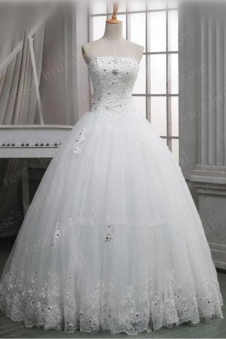 Fashion Strapless Lace Princesa Simple White/Ivory Wedding Dresses 2016 Tulle Beads Princess Bridal Ball Gowns