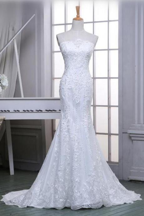 Sexy Wedding Dress Strapless Lace Mermaid White/Ivory Wedding Dresses Chapel Train Elegant Beaded Bridal Dresses