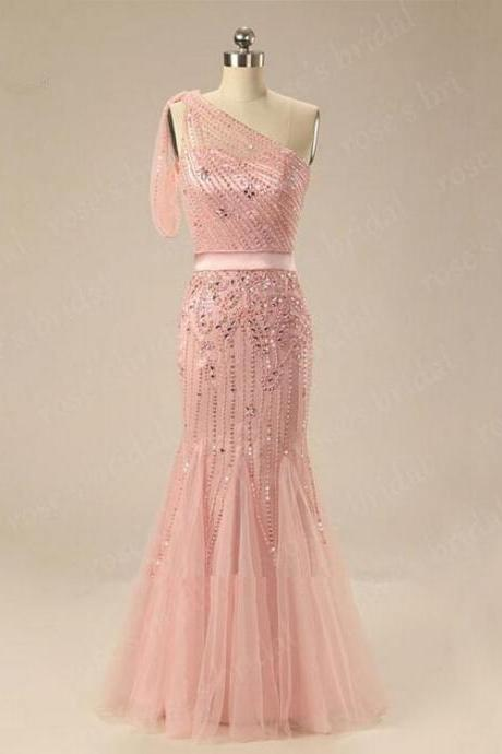 Luxury One Shoulder Beaded Sparkly Long Pink Mermaid Evening Dress Bridesmaid dress 2016 Bling Gorgeous Formal Party Dress