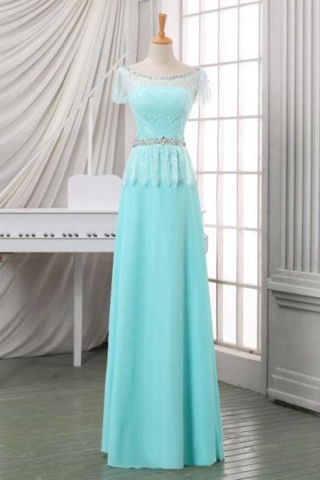 2016 New Arrival Formal Dresses Cap Sleeve Bridesmaid dress Lace Beaded Sky Blue Evening Dress Women Chiffon Evening Gowns