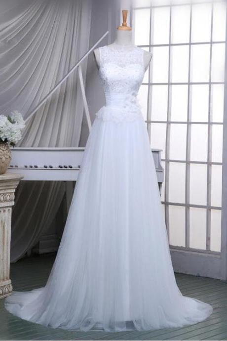 2016 Newest Design Off Shoulder White Tulle Wedding Gowns A Line Chapel Train Lace Simple Wedding Dresses