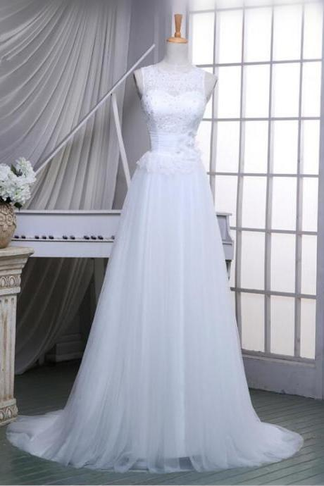 2016 Simple Custom made Tulle Wedding Dresses Lace Elegant Bridal Dresses For Wedding