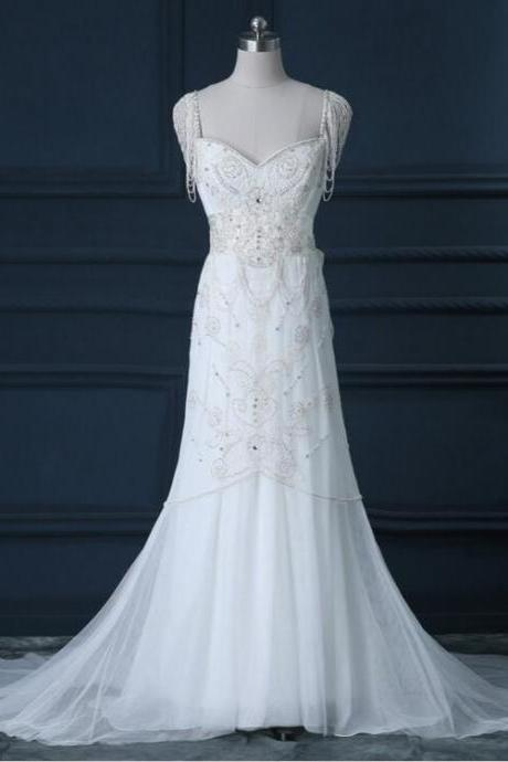 2016 Cap Sleeve Tassel White/Ivory Lace Beaded Wedding Dress Luxury Elegant Bridal Dresses