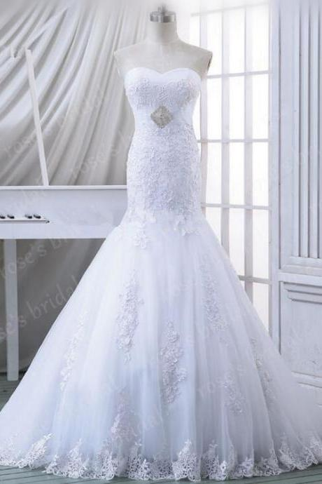 2016 Sweetheart Neckline Mermaid Lace White Wedding Dress Elegant Chapel Train Wedding Gowns Bridal Dress