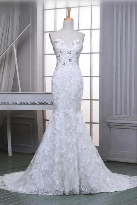 Mermaid Lace Elegant Wedding Dress Women white/Ivory Bridal Dress With Long Tail 2016