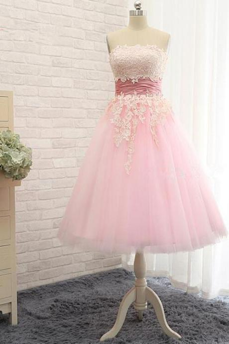 Pink Strapless Lace Appliqué Short Homecoming Dress
