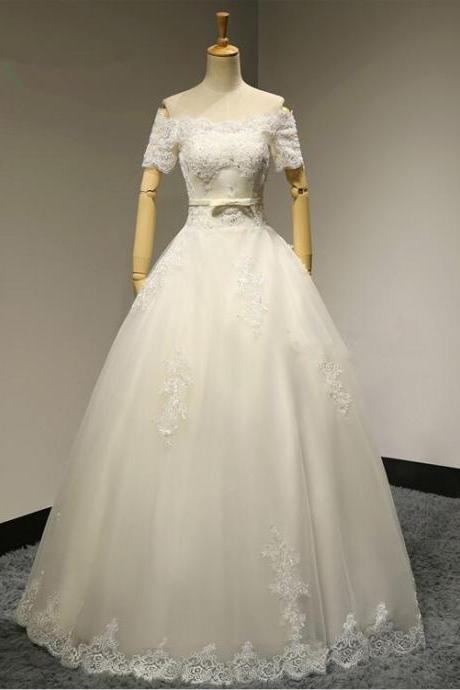 Sexy Lace Appliques Short Sleeves Ball Gown Boat Neck Wedding Dress Bridal gown