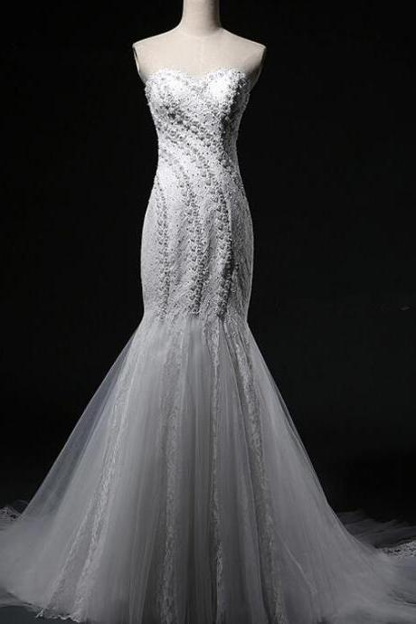 Sexy Mermaid Sweetheart Lace Up Wedding Dress 2016 Hot Sale With Bead Appliques Organza Bridal gown
