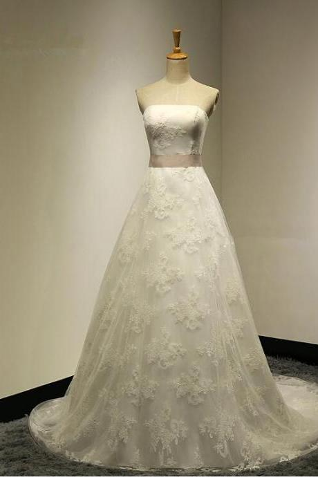 Elegant Ball Gown Strapless Organza Lace Up 2016 New Arrival Wedding Dress With Back Bow Sash Sweep Train Bridal gown