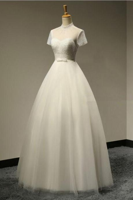 Sexy Backless Short Sleeves Beaded High Neck Wedding Dresses Custom Made Hot Sale 2016 Bridal gown