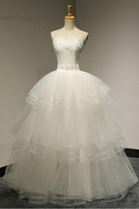 Sexy Ball Gown Lace Beadings Cake Skirt Wedding Dress Tiers Bridal gown