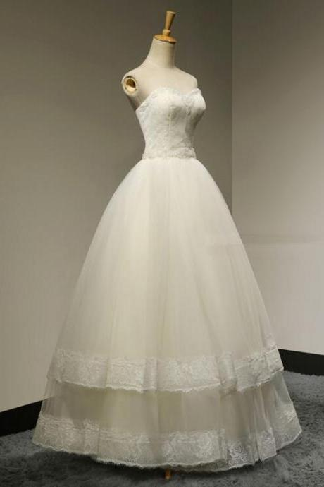 Custom Made Sweetheart Ruffled A-Line Beading Wedding Dresses Hot Sale Floor Length Summer Bridal gown