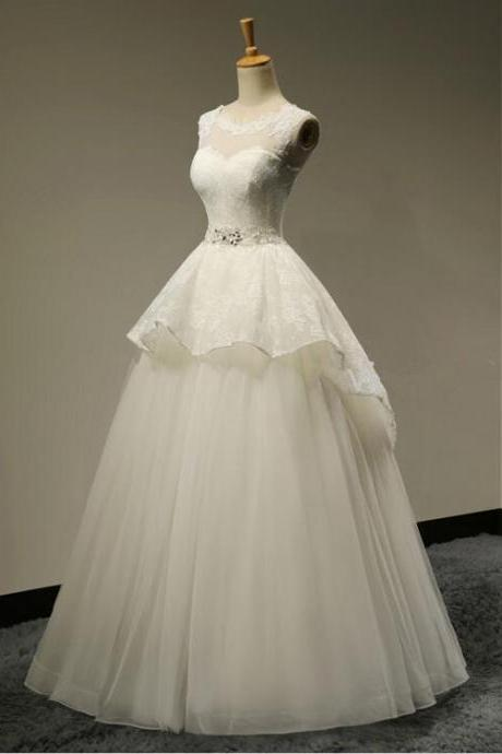 Custom Made Sexy Backless Scoop Neck Crystal A-Line Lace Wedding Dresses Hot Sale 2016 Bridal gown