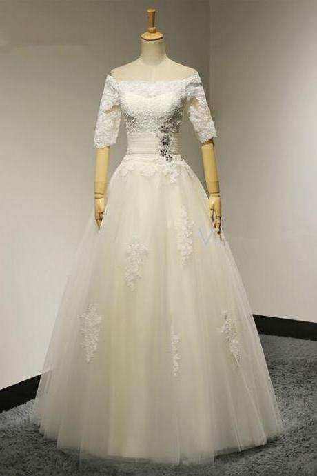Bridal Ball Gown Boat Neck Beadings Half Sleeves Lace Wedding Dresses Hot Sale 2016 Bridal gown