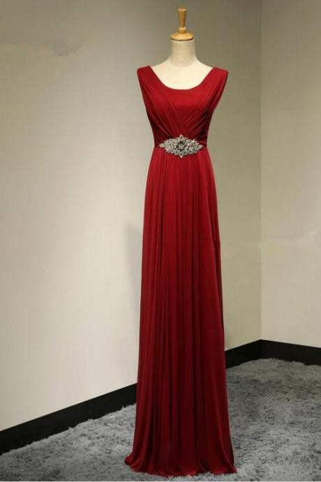 Beaded Bridesmaid Dresses Long Chiffon Floor Length Dress for Bridesmaid A line Evening dress Red Prom dress