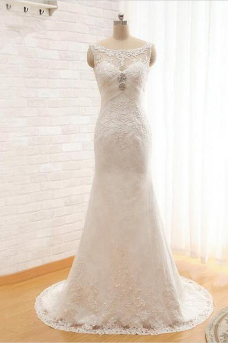 2016 New Scoop Lace Appliques Crystal Beading Long Mermaid Wedding Dresses Bridal Gown
