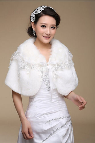 Bridal dress cloak Lace shrug Fake fur Stole Ivory Wrap wedding Jackets