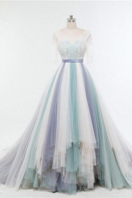 Floor Length Colourful Tulle Wedding Gown Featuring Sweetheart Illusion Lace Quarter Sleeve Bodice