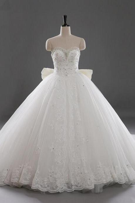 Wedding Dresses Ball gown Bown Sweetheart Long tailing pearl Lace Wedding Dress 2016 A-line Bridal gown