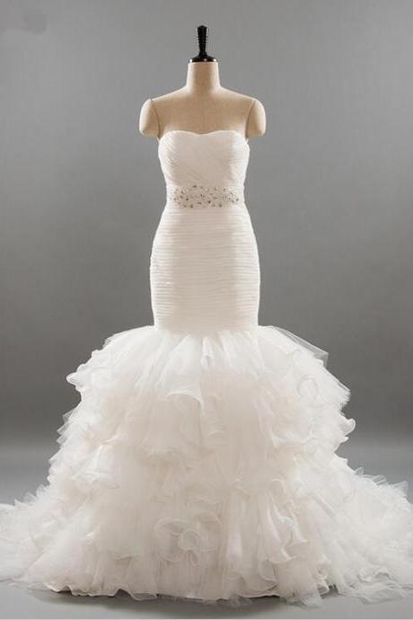 Fashionable Strapless Mermaid Wedding Dresses With Sash Lace Wedding Dress Tiered