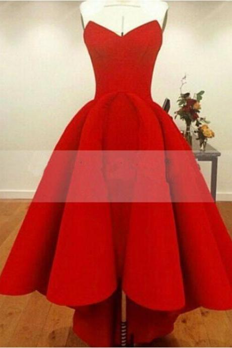 Red High Low Prom Dresses 2016 Sexy Sweetheart Off Shoulder Satin Formal Evening Gowns Cheap Party Dress